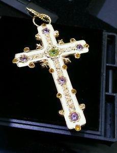 14k Yellow Gold Enamel Amethyst Designer Stained Glass Design Crucifix Cross
