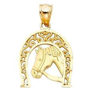 14k Yellow Gold Fancy Designer Lucky Race Horse Shoe Braided Filigree Pendant