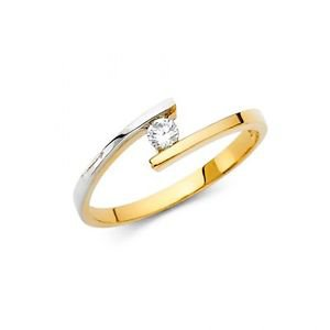 14k Two Tone Gold Fancy Vintage Cubic Zirconia Engagement Ring Resizable Size 7
