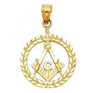 14k Yellow Gold Designer Diamond Cut Freemason Masonic Image Pendant Charm