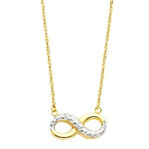14k Multi Tone Gold Diamond Cut Designer Endless Love Infinity Charm Necklace