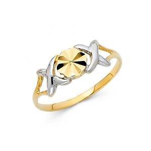 14k Multi Tone Gold Diamond Cut XOX Hugs & Kisses Design Ring Resizable Size 7