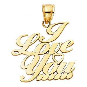 14k Yellow Gold Fancy Designer I Love  3 You Eternal Heart Message Charm Pendant