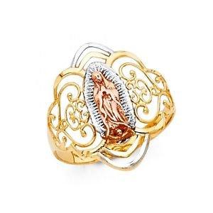 14k Multi Tone Gold Fancy Filigree Senor de Guadalupe Design Love Ring - Size 7*