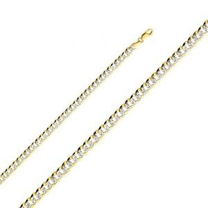 14k Yellow Gold White Paved Fancy Cuban Chain Necklace / Bracelet - 6.9 mm