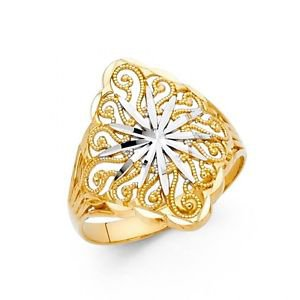14k Multi Tone Gold Fancy Filigree Wheel of the Year Design Love Ring - Size 7*
