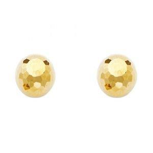14k Yellow Gold Designer Disco Ball Diamond Highly Polished Stud Earrings 9mm