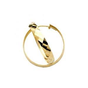 14k Yellow Gold Fancy Designer Light Diamond Cut Domed Hoop Earrings - 3.5 mm