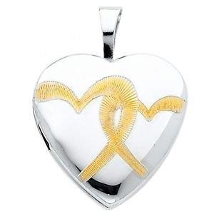 14k Yellow Gold Enamel Interlocking Heart Shaped Designer Locket Charm Pendant