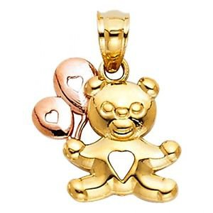 14k Multi Tone Gold Fancy Designer Highly Polished Bear and Heart Charm Pendant