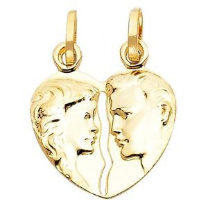 14k Yellow Gold Hammer Press Couple's Embrace Heart Shape Design Charm Pendant