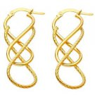 14k Yellow Gold Fancy Designer Light Twisted Diamond Cut Hoop Earrings - 1.5 mm