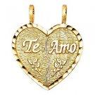 14k Yellow Gold Diamond Cut Te Amo I Love You Broken Heart Design Charm Pendant