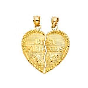 14k Yellow Gold Best Friends Mejores Amigos Broken Heart Design Charm Pendant