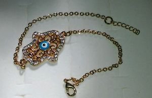 14k Yellow Gold Plated Hamsa Nazar Evil Eye Good Luck Designer Bracelet Crystals
