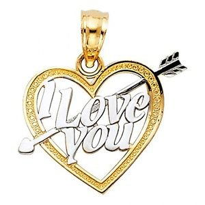 14k Yellow Gold Fancy Designer I Love  3 You Heart and Arrow Cupid Charm Pendant