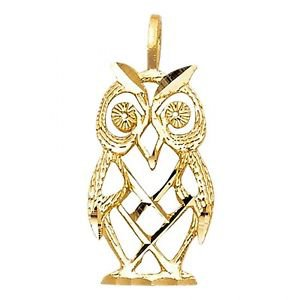 14k Yellow Gold Designer Diamond Cut Lucky Totem Great Horned Owl Charm Pendant