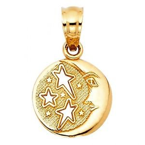 14k Yellow Gold Fancy Designer Moon and Star Diamond Cut Textured Charm Pendant