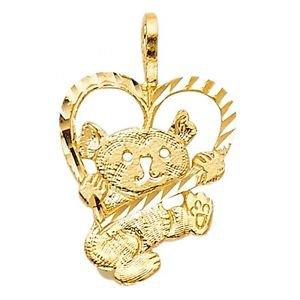 14k Yellow Gold Fancy Designer Bear Carrying Heart Charm Pendant