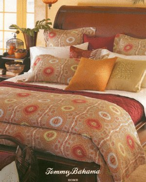 New Tommy Bahama Desert Paisley Bed Skirt/3 Sham Set