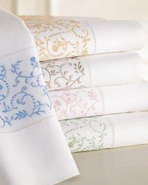 Sferra Rosa Embroidered Pillowcases-Green on White-Standard