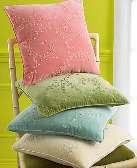 "NWT Sferra  ""Afer Six"" Velvet Embroidered Pillow Cover-Ivory"
