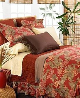 Tommy Bahama Lotus Pond Pillow Sham-Boudoir-Red Ginger