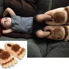 Unisex Savage Hairy Hobbit Feet Big Feet Funny Slippers Warm Home Couples Slippers