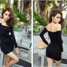 Off-shoulder Slash neck slim Black dress Long sleeve Modal nightclub hang out gift