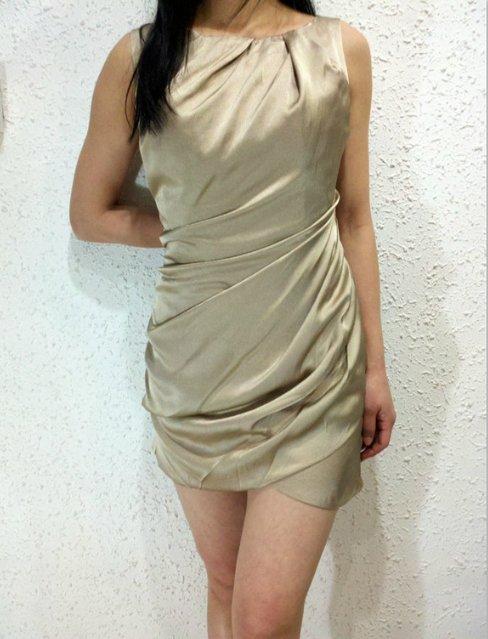 New women's fashion Casual champagne dress evening dress party dress gift Size UK 14/US 12