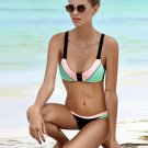 3 Styles Womens Sexy color mixed Push up beachwear Swimsuit plus size Swimwear bikini set