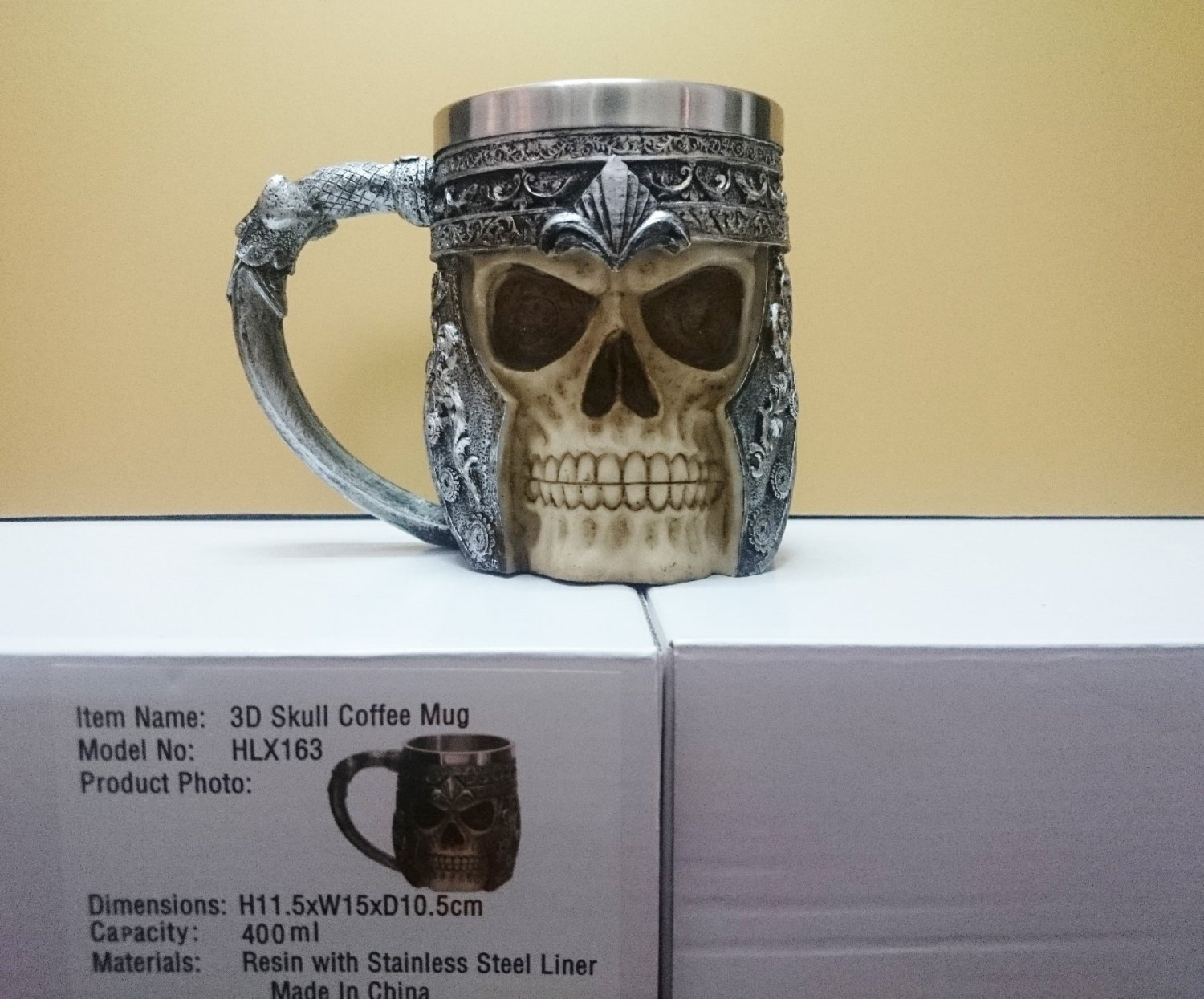 Collectibles 3D Skull Viking Beer Mug Scary Cool Resin Stainless Steel Cups Home Office Decor gift