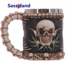 Collectibles Skull Viking Wine Mug Scary Cool Resin Stainless Steel Cups Home Decor Halloween gift