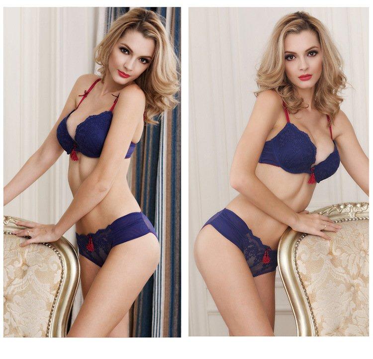 4 Color Women's Sexy lace Bra Set Lingerie Underwear plus size Push-Up Padded sleepwear