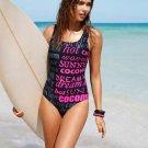 New womens Letter one-piece Bikini Swimwear Beachwear Bathing suit XS S M L