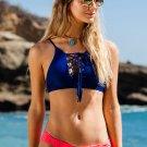 Women's Double color bikini set swimwear bra+panties plus size beachwear S M L
