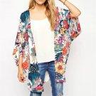 Women's Floral 3/4 sleeve chiffon blouse kimono cardigan swimwear bikini cover up s-3xl