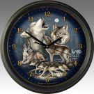Gray Wolf Collage 16-inch Wall Clock