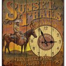 Sunset Trails & Stables Wooden Cabin Sign Clock
