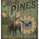 Misty Pines Retreat Wooden Cabin Sign Clock