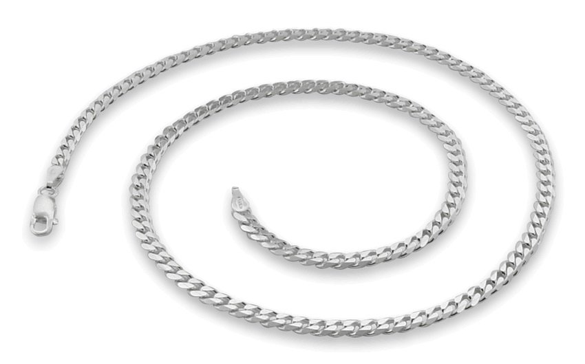 "3.8mm 7"" Sterling Silver Curb Chain Bracelet"