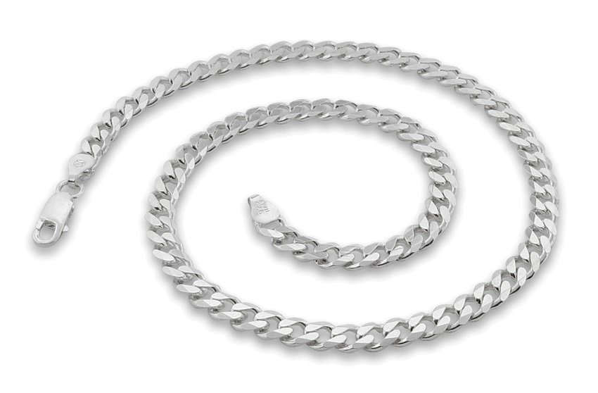 """5.6mm 9"""" Sterling Silver Curb Chain Bracelet"""