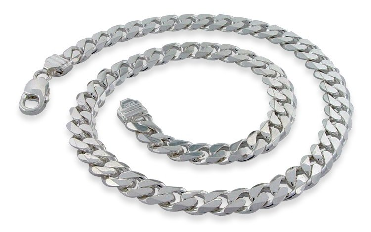 "9.5mm 7"" Sterling Silver Curb Chain Bracelet"