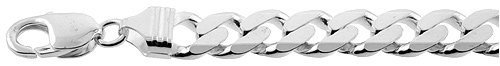 """10.5mm 9"""" Sterling Silver Curb Chain Bracelet"""