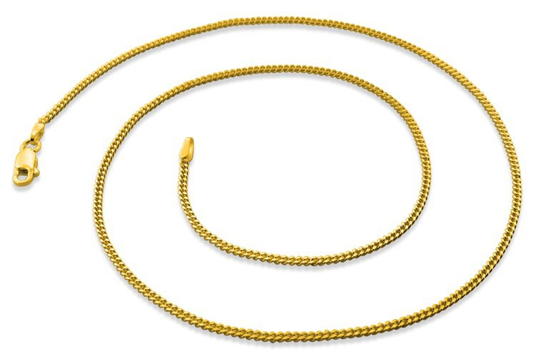 "1.8mm 22"" 14K Gold Plated Sterling Silver Curb Chain"
