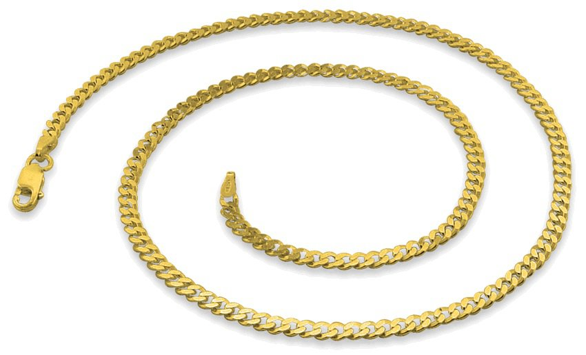 """3mm 20"""" 14K Gold Plated Sterling Silver Curb Chain"""