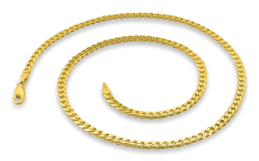 "3.8mm 22"" 14K Gold Plated Sterling Silver Curb Chain"