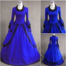 Adult Blue Long Trumpet Sleeves Victorian Medieval Dress Women's Wedding Costume