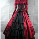 Red and Black Long Sleeves Medieval Victorial Gothic Wedding Ball Gowns Custom Made