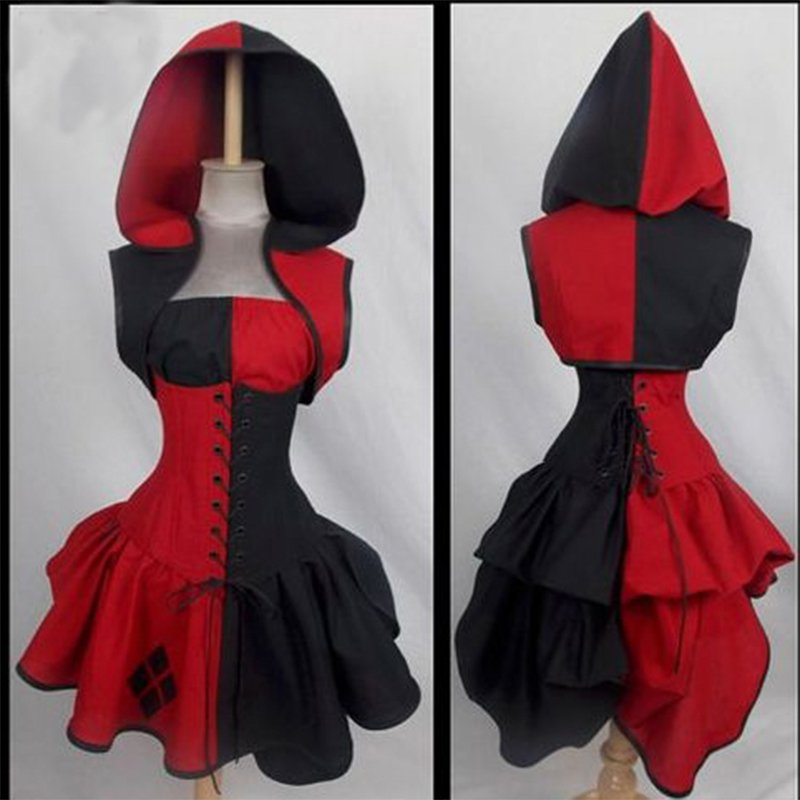 Batman Harley Quin Joker Villain Style Bustle Costume Dress